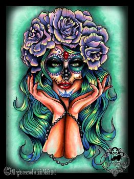 Day Of The Dead Girl tattoo flash by MissMisfit13