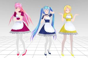 MMD Tda Luka, Miku and Rin Maid Download !! by InoriAruma