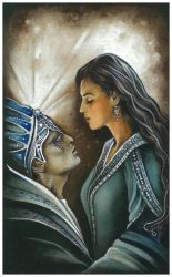 Luthien and Morgoth by ebe-kastein