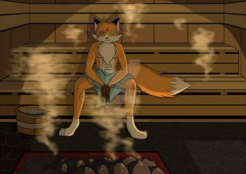 Relaxing in the sauna by LordRedstar