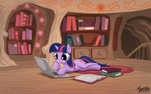 Twilight Sparkle on Laptop by mysticalpha