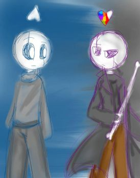 FlowerGlitch and AfterGlitch Gaster (Rough Sketch) by Rarinette