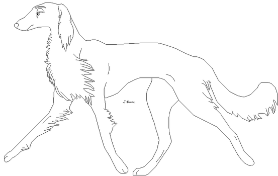 Saluki lineart by J-Dove