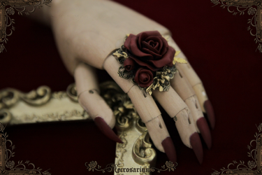 Rosarium Ring - Dark Wine Red - M1517 1 by Necrosarium
