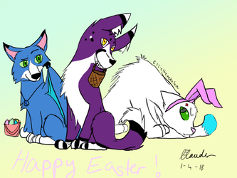 Happy easter from the gang! by ezziethenekolover