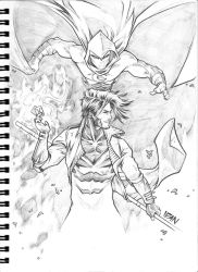 Gambit and Moonknight commission by ArtOfIDAN
