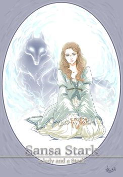 Sansa Stark and Lady by Cocoz42
