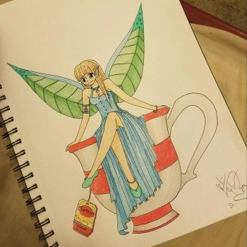 Water Fairy, sitting on a teacup by rosey89107