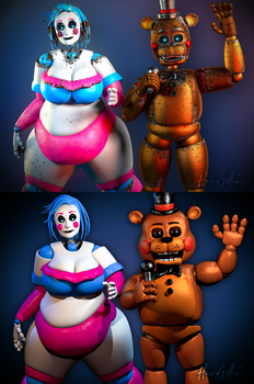 Toys - Style Test (Cassie and Toy Freddy) by HeroGollum