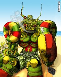 Rasta robot on the beach by Manu-2005