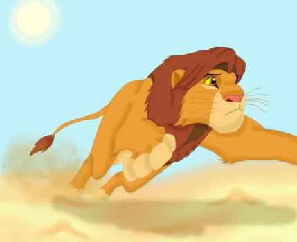 Simba Runs Home by SolitaryGrayWolf