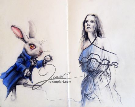 Alice and the White Rabbit by RoxaneLys