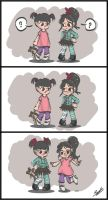Boo and Vanellope Costume Swap! by Violet1202