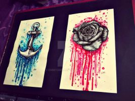 Rose and Anchor Tattoo flash ~ By Emmy Ame by EmmyAme