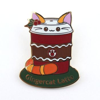 Gingercat Latte: Cute Christmas Coffee Cat Pin by kimchikawaii
