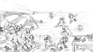 Beach Party (sketch) by zilvart