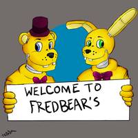 fredbear and friend by waywardJellyfish