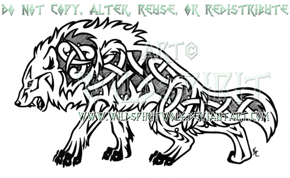 Fierce Nordic Dire Wolf Design by WildSpiritWolf