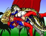 Supergirl vs T-Rex 03 by Predaguy by THE-Darcsyde