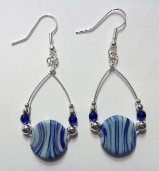 blue chip pearls rounded up in a triangle earrings by syn-O-nyms