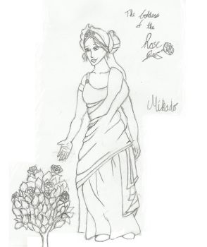 The Goddess of the Rose - Line Art by Elriaen