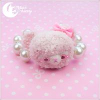 Fluffy baby garden - pink bear Bracelet by CuteMoonbunny