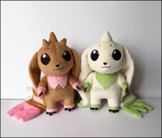 Plushie: Terriermon and Lopmon by Serenity-Sama