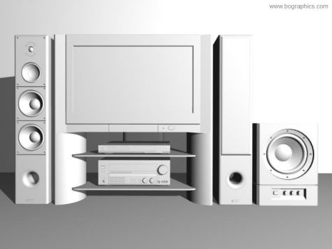 Home Theatre 3D - clay render by bographics