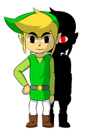 Toon Link and his shadow by faren916