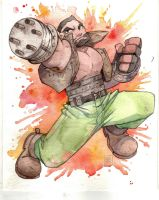FF7 Barret Watercolour by FeatherNotes