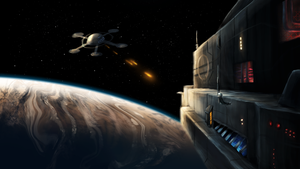 Flattiverse Art - Starbase fighting Cargo Ship by Scharle