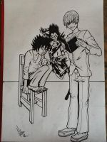 Light yagami, L and shinigami by filipeG