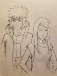 Minato and Kushina Painting Sketch by DNLINK