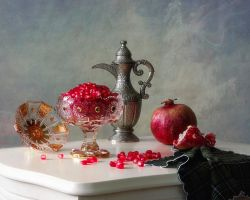 Still life with pomegranate seeds by Daykiney