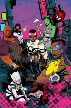 Cap and Mighty Avengers cover by  Sanford Greene by whoisrico