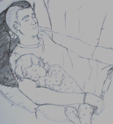 Sleepy Time With Dad by lupinesque28