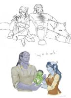 Draenei and Orc - then and now by merrypaws