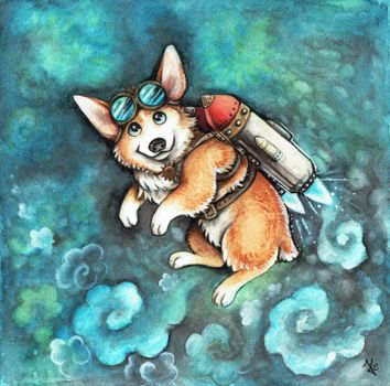 Steampunk rocket Corgi by kiriOkami