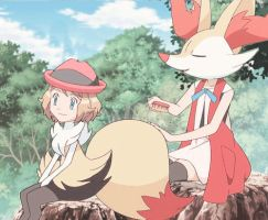 [gif] Serena and Braixen Headswap by KirliaSwap