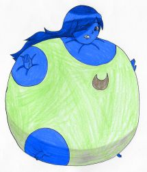 Blueberry inflated Midori Lewanna in swimsuit by Magic-Kristina-KW