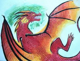 Ink/Watercolour Dragons - Red by xiShadowWolfx