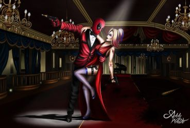 Deadpool and Harley Quinn- Crazy love by AddaWhite