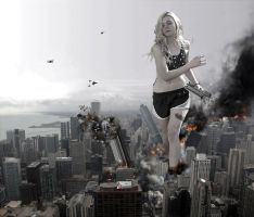 Giantess Elle Fanning's Rampage in Chicago by GiantessStudios101