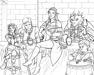 DnD Group Sketch Commission by BrittanyMichel