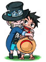 Posing for the Camera (TWW style Sabo and Luffy) by MajorasMasks