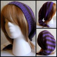Purple Striped Hat by StrangeKnits