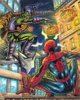 Spidey vs Green Goblin SKETCHCARD by JASONS21