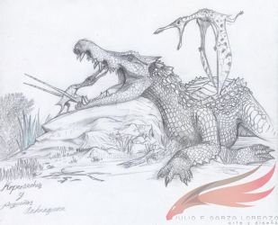 KAPROSUCHUS and young ANHANGUERA by julius2611