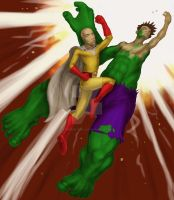 Saitama v hulk color and background by ThirteenthBullet