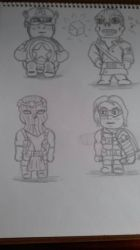 captain america chibis (wip) by Laineyfantasy